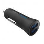 Cygnett PowerMini 2.4A Dual USB Car Charger - Black