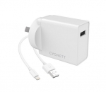 Cygnett PowerPlus 2.4A 12W USB-A Universal Wall Charger with 1.5m Lightning to USB-A Cable - White