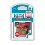 Dymo 12mm x 3mm Durable Labels Cassette - White on Red
