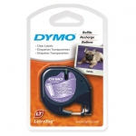 Dymo 12mm x 4m Genuine LetraTag Labeller Plastic Tape - Black on Clear