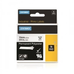 Dymo 19mm x 5.5m Genuine Rhino Industrial Permanent Polyester Labels - Black On White