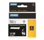 Dymo 6mm Rhino Industrial Permanent Polyester Labels - Black on White