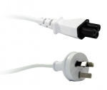 Dynamix 2m 3 Pin Plug to Clover Shaped C5 Female Power Cord Cable - White