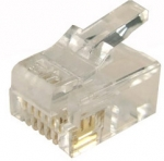 Dynamix RJ-12 6P6C Modular Plug for SOLID Cable 3 micron - 200 Piece Jar