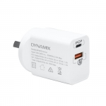 Dynamix USB-C & QC3.0 USB-A Universal Compact Wall Charger with 18W PD - White