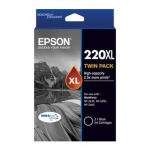 Epson 220XL DURABrite Black High Yield Ink Cartridge - 2 Pack