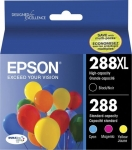 Epson DuraBrite Ultra 288XL High Yield Ink Cartridge Value Pack - Black, Cyan, Magenta & Yellow