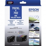 Epson 702XL Black High Yield + 702 Colours Ink Cartridge Value Pack - Cyan Magenta Yellow