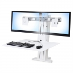 Ergotron WorkFit-SR Dual Monitor Sit-Stand Desktop Workstation - White