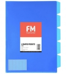 File Master A4 5 Tab Presentation Folder Blue - 5 Pack