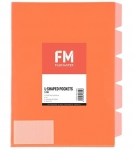 File Master A4 5 Tab Presentation Folder Orange - 5 Pack