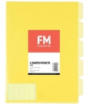 File Master A4 5 Tab Presentation Folder Yellow - 5 Pack