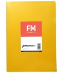 File Master A4 L-Shape Pocket Presentation Folder Yellow - 12 Pack