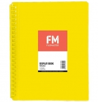 File Master 20 Pocket Refillable A4 Display Book with Insert Cover - Yellow