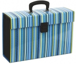 File Master Vivid 19 Pocket Expanding File - Stripe Blue