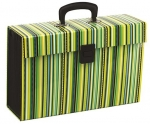 File Master Vivid 19 Pocket Expanding File - Stripe Green