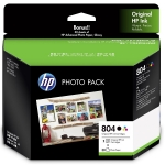HP 804 Ink Cartridge Photo Value Pack - Black & Tri-Colour + 30 Sheets of 4x6 Photo Paper!