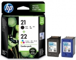 HP 21 Black and 22 Tri-colour Ink Cartridge Combo Pack