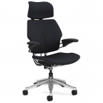 Humanscale Freedom Task Leather Office Chair with Headrest & Gel Arm Rests - Noir Black