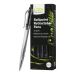 Icon 1.0mm Ballpoint Retractable Pens Black - 10 Pack