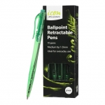 Icon 1.0mm Ballpoint Retractable Pens Green - 10 Pack
