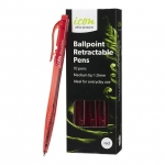 Icon 1.0mm Ballpoint Retractable Pens Red - 10 Pack