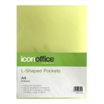 Icon A4 L Shaped Pockets Yellow - 10 Pack