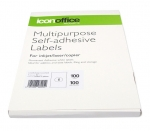 Icon 210 x 297mm Multipurpose Self-Adhesive White Labels - 100 Pack