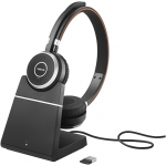 Jabra Evolve 65+ MS Bluetooth Over The Head Wireless Stereo Headset with Charging Stand - Optimised for Microsoft Business Applications