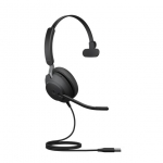 Jabra Evolve2 40 MS USB-A Over the Head Wired Mono Headset with Noise Cancelling - Optimised for Microsoft Business Applications