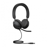Jabra Evolve2 40 UC USB-A Over the Head Wired Stereo Headset with Noise Cancelling