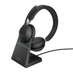 Jabra Evolve2 65 MS USB-A Bluetooth Over the Head Wireless Stereo Headset with Charging Stand - Black - Optimised for Microsoft Business Applications