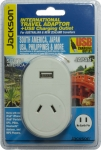 Jackson Outbound International Travel Adaptor With 1 USB Charging Port (1A) for USA, Japan & South America - No Earth Pin