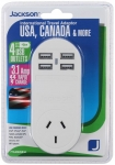 Jackson Outbound Travel Adaptor for USA Plugs with 4 x USB Ports