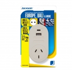 Jackson Outbound Travel Adaptor with 1 USB-A and 1 USB-C for Europe, Bali & More