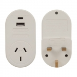 Jackson Outbound Travel Adaptor with 1 USB-A and 1 USB-C for UK & Hong Kong