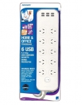 Jackson PT1055 10 Outlet Surge Protected Power Board with 6 USB Charging Outlets