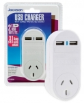 Jackson Single Plug + 2X USB Outlets Wall Charger - 3.15A