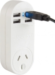 Jackson Surge Protected Single Power Plug with 4 x USB (1A Max) Charging Outlets