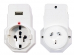 Jackson Inbound Travel Adaptor Surge Protection with 1 USB Charging Port (1A) for Converting USA, UK & Japanese Plugs to NZ & Australia