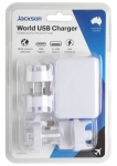 Jackson 3 Port Worldwide USB Charger Adapter - For Outbound & Inbound Travel