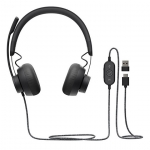 Logitech Zone USB Wired Headset with Noise-Cancelling Technology - Black