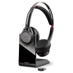 Poly Voyager Focus B825-M UC MS Wireless Stereo Bluetooth Noise Cancelling Headset with Stand - Optimised for Microsoft Skype for Business