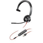 Poly Blackwire 3310-M MS USB-A Over the Head Wired Mono Headset - Optimised for Microsoft Business Applications