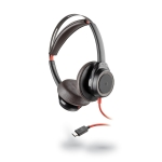 Poly Blackwire 7225 UC USB-C Over the Head Wired Stereo Headset with Active Noise Cancelling - Black