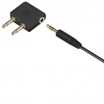 Promate AirGear Aircraft Headphone Adapter Kit with 3.5mm Audio Cable - Black