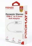 Promate AUXLink-C Dynamic Stereo USB-C to 3.5mm AUX Adapter - White