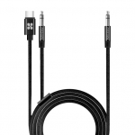 Promate AUXLink-CM 2-in-1 USB-C/3.5mm to 3.5mm AUX Audio Cable - Black