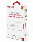 Promate AUXLink-I Dynamic Stereo Apple Lightning to 3.5mm AUX Connector - White