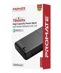 Promate Capital-30 78W High Capacity 30000mAh Power Bank with Power Delivery & QC 3.0 - Black
